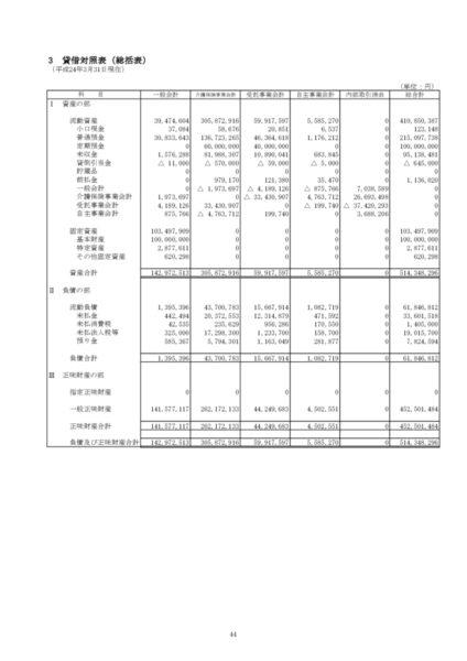 平成23年度貸借対照表image