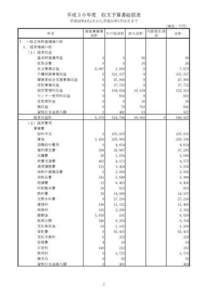 平成30年度収支予算書image